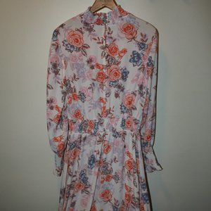 Nanette Lepore Sz 10 Foral Long Sleeve Dress